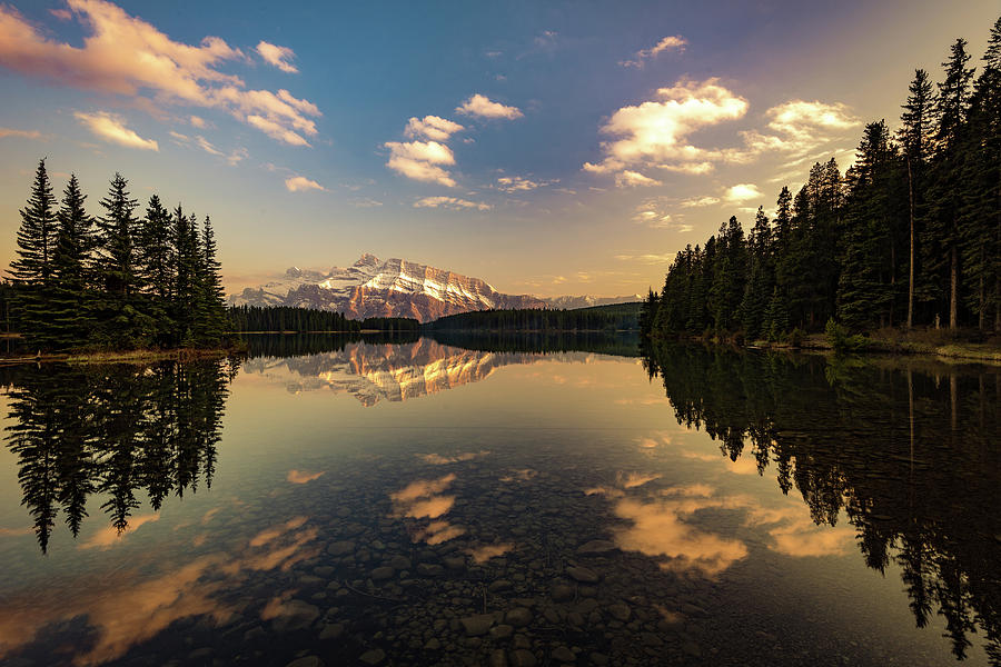 Two Jack Lake and Mount Rundle by Peter OReilly