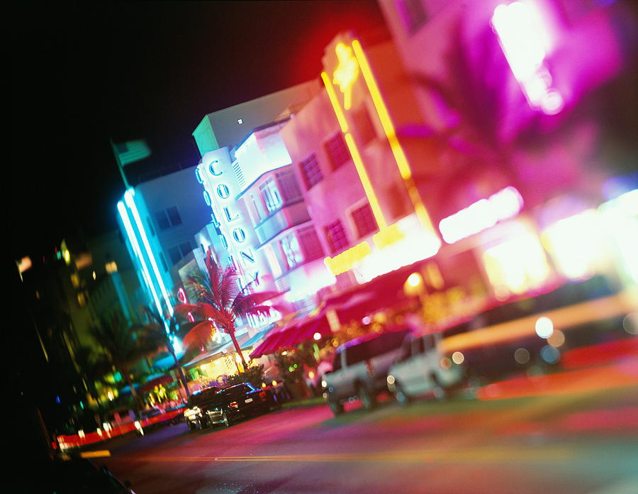 Usa, Florida, Miami, Ocean Drive, Night Photograph by Jerry Driendl
