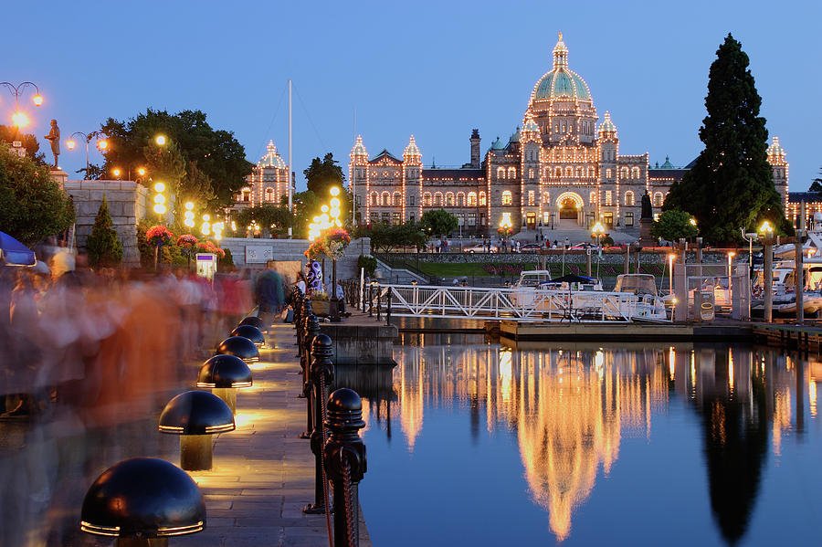 Victoria At Night Photograph by S. Greg Panosian