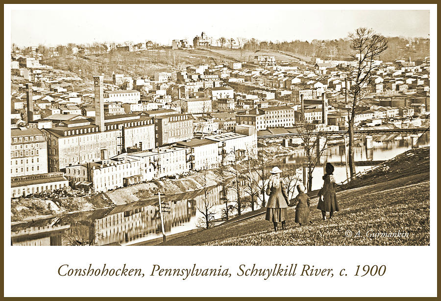 View of Conshohocken, Pennsylvania, c. 1900, Vintage Photograph by A Gurmankin