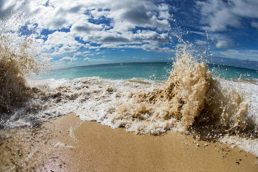 Horizontal Photograph - View Of Surf On The Beach, Hawaii, Usa by Panoramic Images