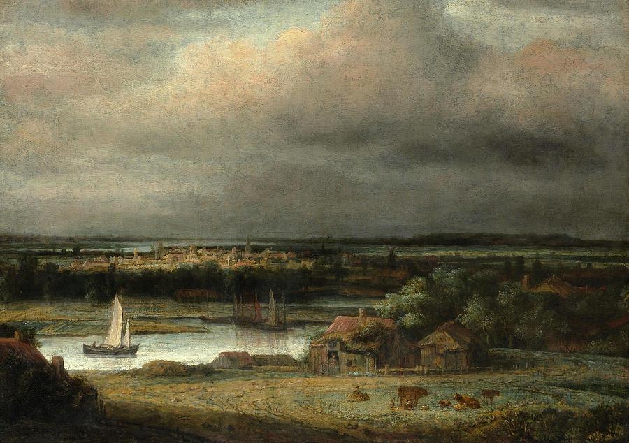 Wide River Landscape. by PHILIPS KONINCK