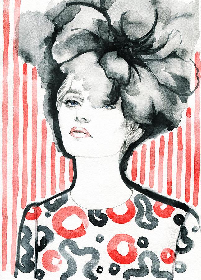 Makeup Digital Art - Woman Portrait .abstract Watercolor by Anna Ismagilova