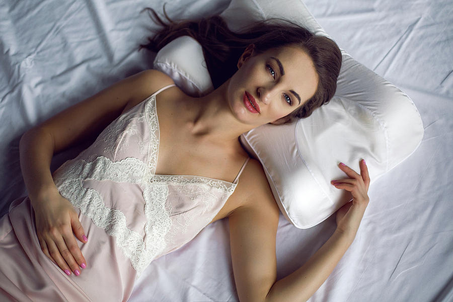 6d09495cc9 Woman Photograph - Young Woman In A Nightgown Lying In A White Bed by Elena  Saulich