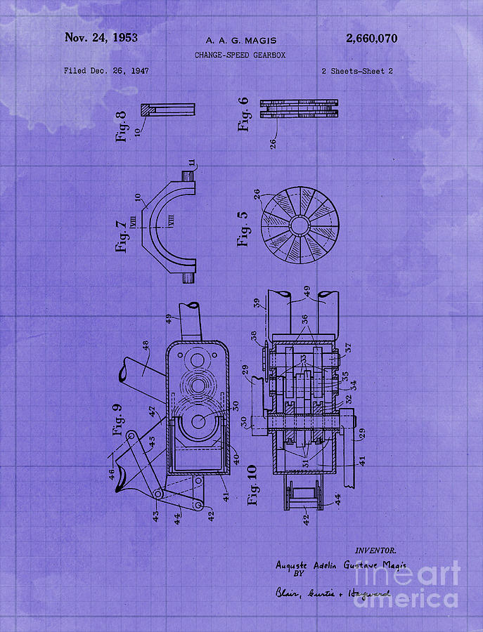 Change Speed Gearbox Patent Year 1953 Drawing