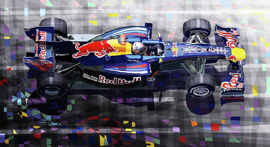 Automotive Mixed Media - 2010 Red Bull Rb6 Vettel by Yuriy Shevchuk