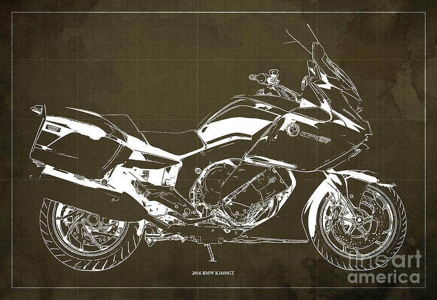 Insignia Digital Art - 2016 Bmw K1600gt Blueprint, Original Motorcyclkes Blueprints, Bmw Artworks, Vintage Brown Background by Drawspots Illustrations