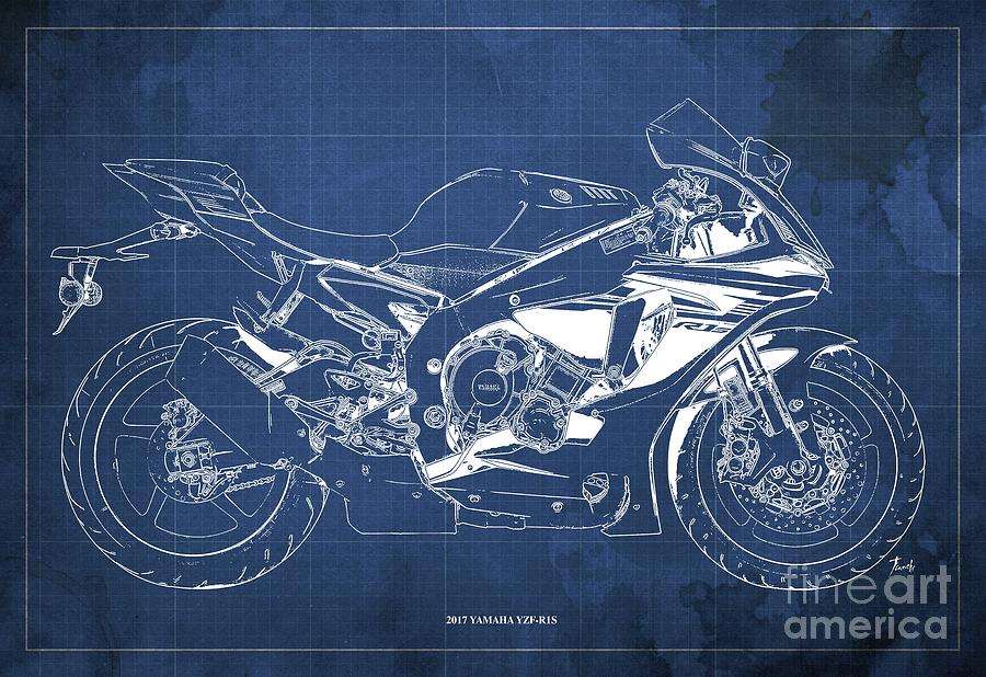 2017 Drawing - 2017 Yamaha Yzf-r1s Blueprint Vintage Blue Background  Original Artwork Gift For Bikers by Drawspots Illustrations