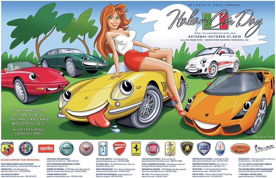 2018-2019 Atlanta Italian Car Day Poster by Rick Andreoli