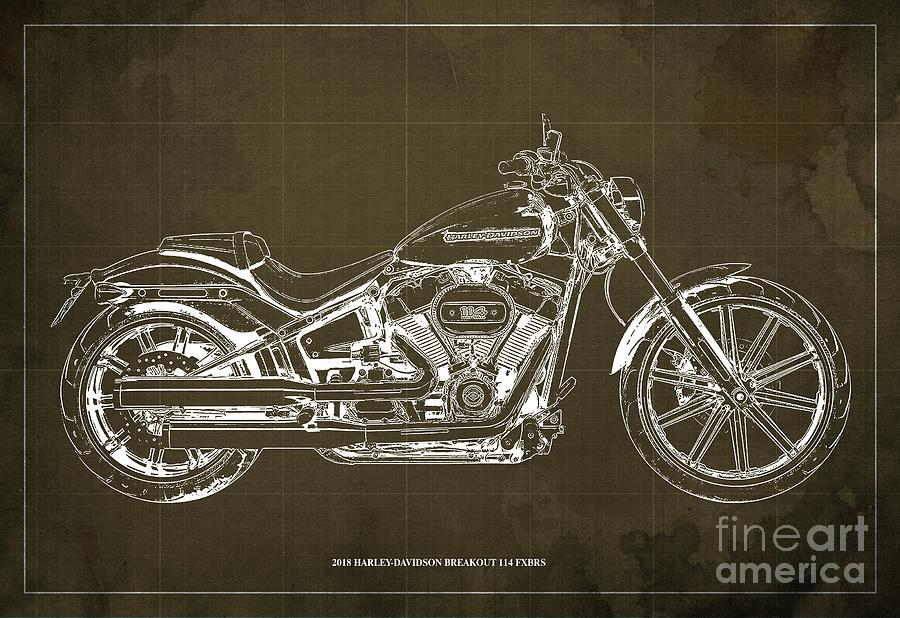2018 Harley Davidson Breakout >> 2018 Harley Davidson Breakout 114 Fxbrs Motorcycle Blueprint Brown Background