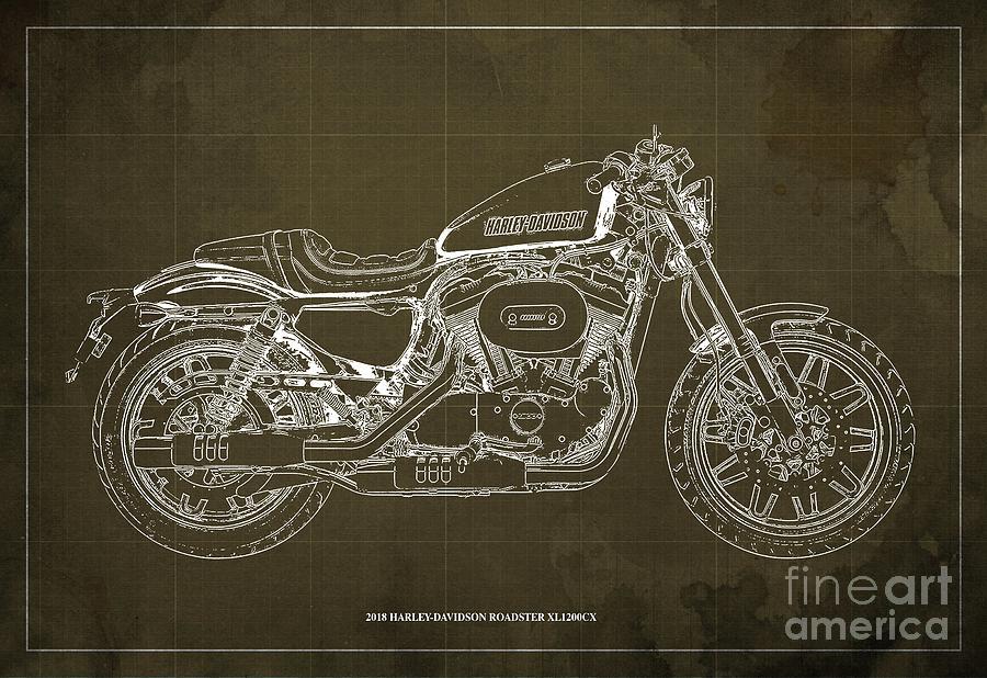 2018 Harley Davidson Roadster, Motorcycle Blueprint, Brown Background Man  Cave Decoration