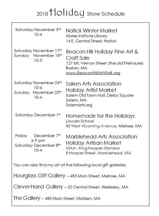 2018 Holiday Show Schedule by Caroline Sainis