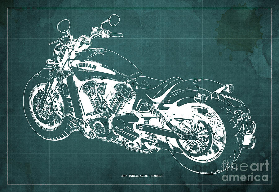 Blueprint Drawing - 2018 Indian Scout Bobber Blueprint, Vintage Background by Drawspots Illustrations