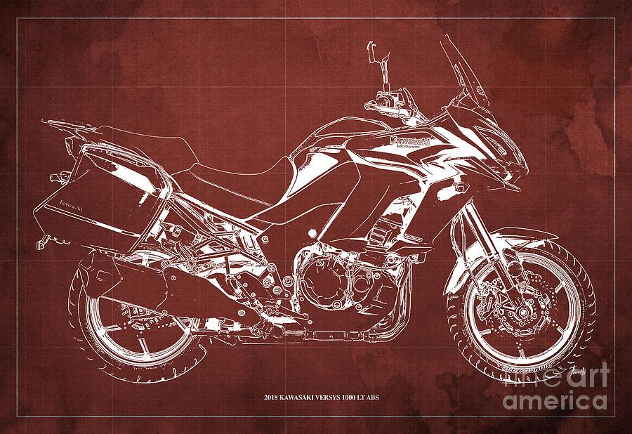 2018 Digital Art - 2018 Kawasaki Versys 1000 Lt Abs Blueprint Old Vintage Red Background Original Artwork by Drawspots Illustrations