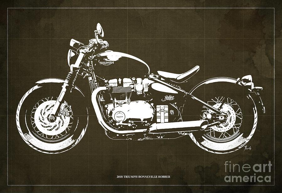 2018 Triumph Bonneville Bobber Blueprint Digital Art by Drawspots Illustrations