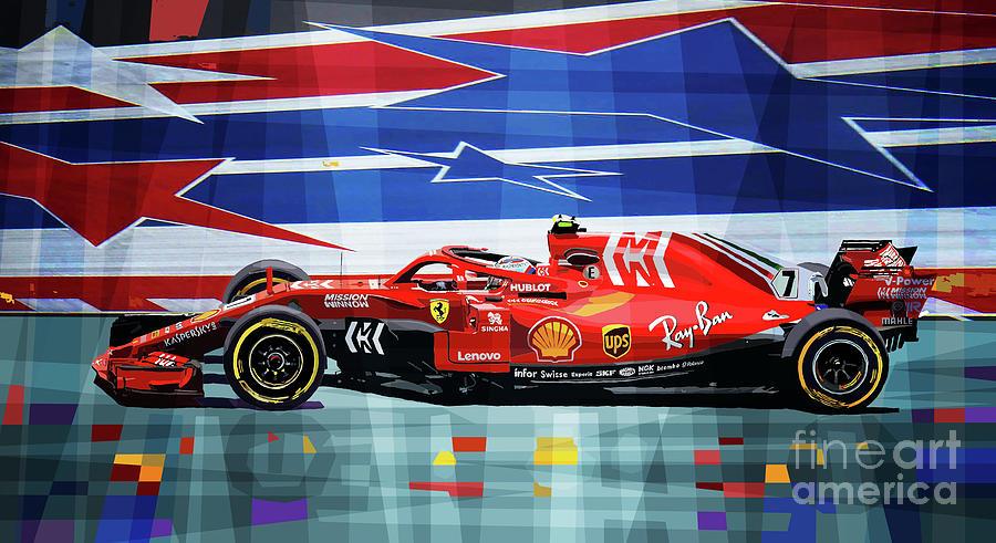 Automotive Mixed Media - 2018 USA GP Ferrari SF71H Kimi Raikkonen winner by Yuriy Shevchuk
