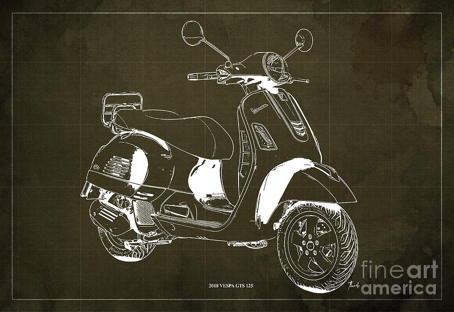 2018 Drawing - 2018 Vespa Gts 125  Blueprint Vintage Brown Background  Original Artwork Gift For Bikers by Drawspots Illustrations