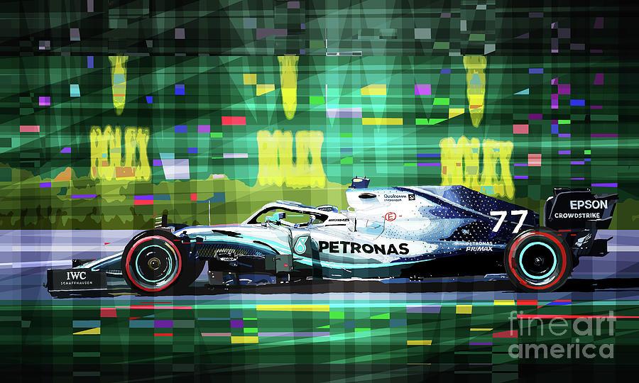 Automotive Mixed Media - 2019 Australian Gp Mercedes Bottas Winner by Yuriy Shevchuk