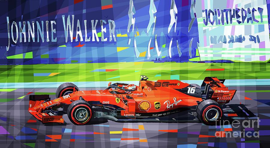 Racing Car Mixed Media - 2019 Belgium GP SPA Ferrari Leclerc winner  by Yuriy Shevchuk