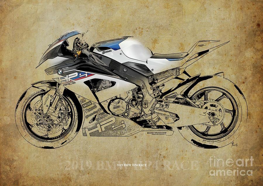 2019 Bmw Hp4 Race Blueprint Vintage Background By Drawspots Illustrations