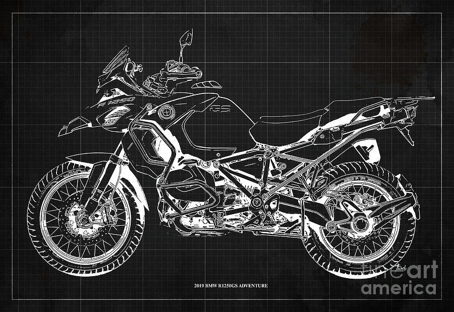 2019 Bmw R1250gs Adventure Blueprint, Dark Grey Background Digital Art