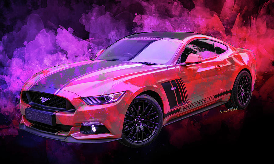 2019 Ford Mustang GT 5.0 Watercolor by Chas Sinklier
