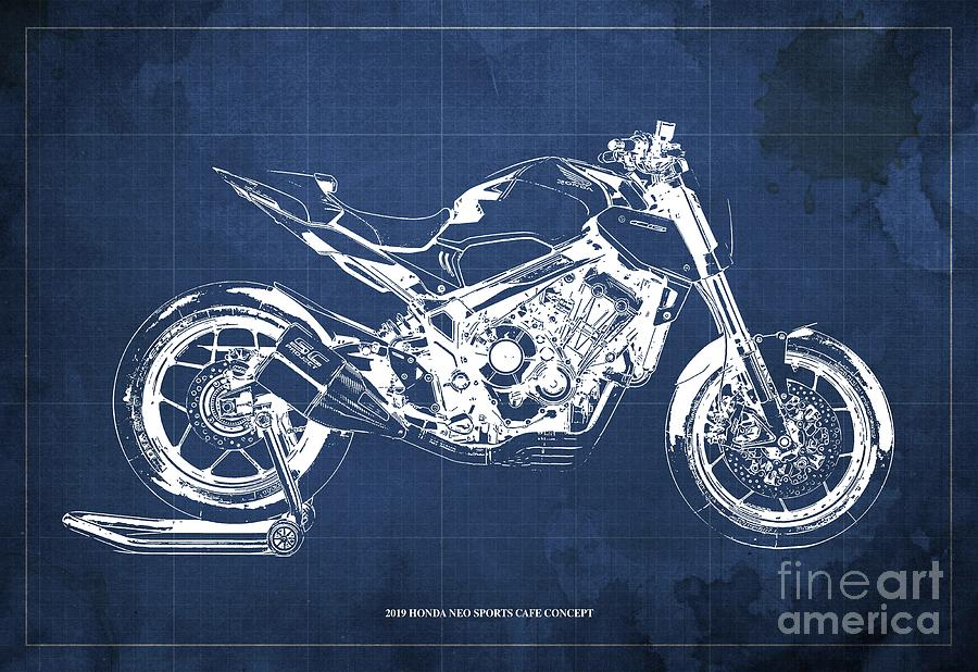 2019 Drawing - 2019 Honda Neo Sports Cafe Concept Blueprint Vintage Blue Background  Original Artwork by Drawspots Illustrations