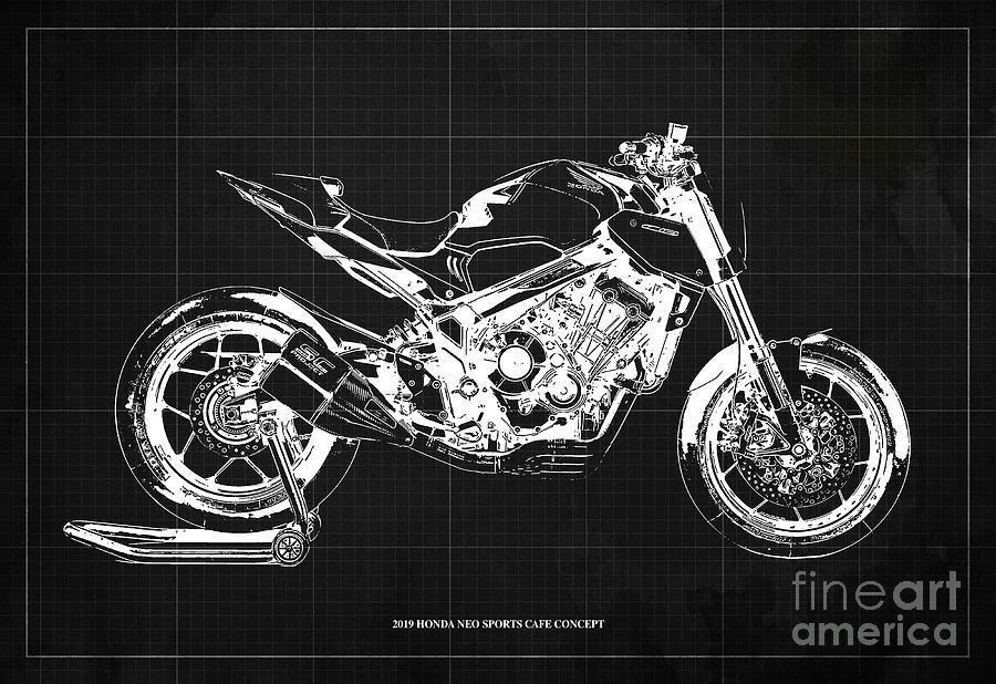 2019 Drawing - 2019 Honda Neo Sports Cafe Concept Blueprint Vintage Dark Grey Background  Original Artwork by Drawspots Illustrations