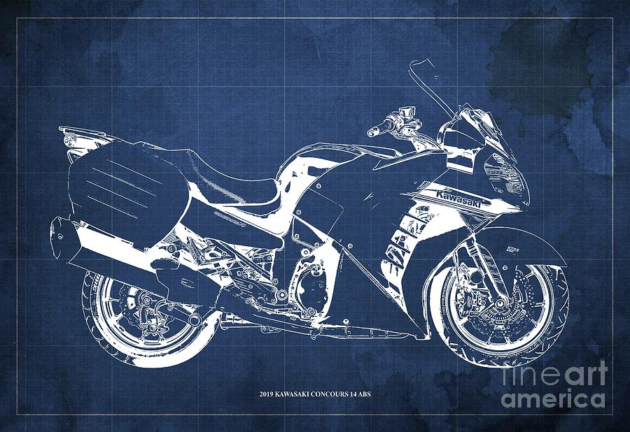 Custom Drawing - 2019 Kawasaki Concours 14 Abs Blueprint Original Artwork Gift For Bikers Office Decoration by Drawspots Illustrations