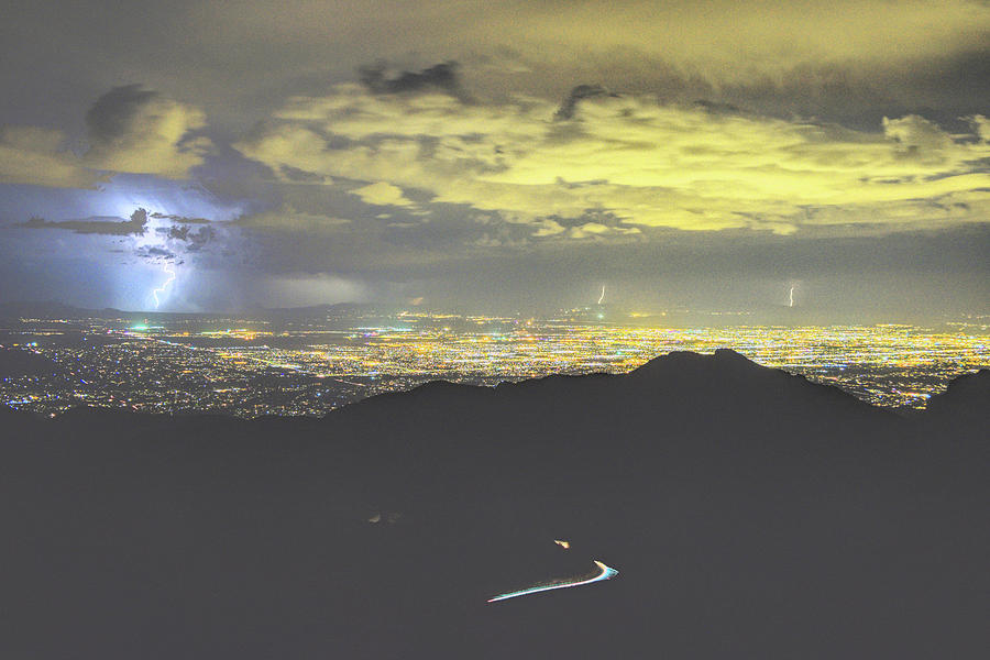 2019 Monsoon Lightning over the Lights of Tucson, Windy Point  by Chance Kafka