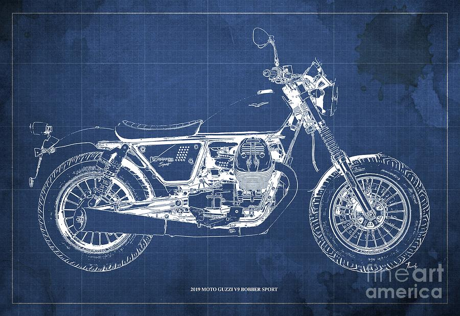 2019 Digital Art - 2019 Moto Guzzi V9 Bobber Sport Blueprint, Mid Century Blue Background by Drawspots Illustrations