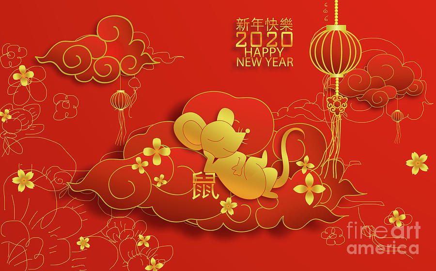 2020 Chinese new year and happy rat on sketch by ATIKETTA SANGASAENG
