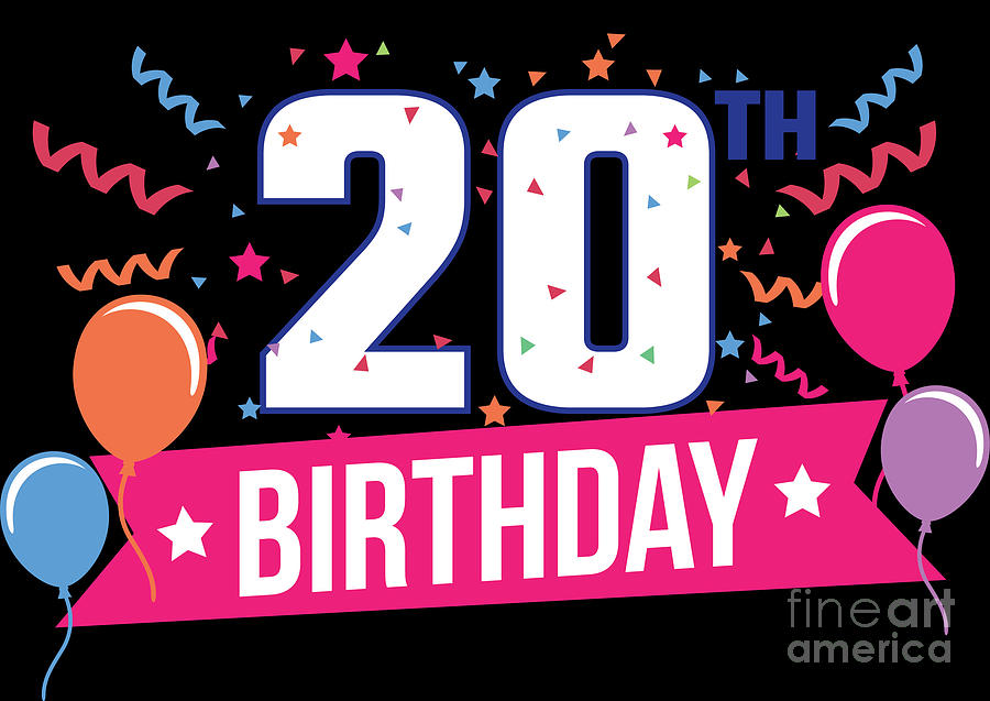 20th Birthday Party Balloons Banner Gift Idea