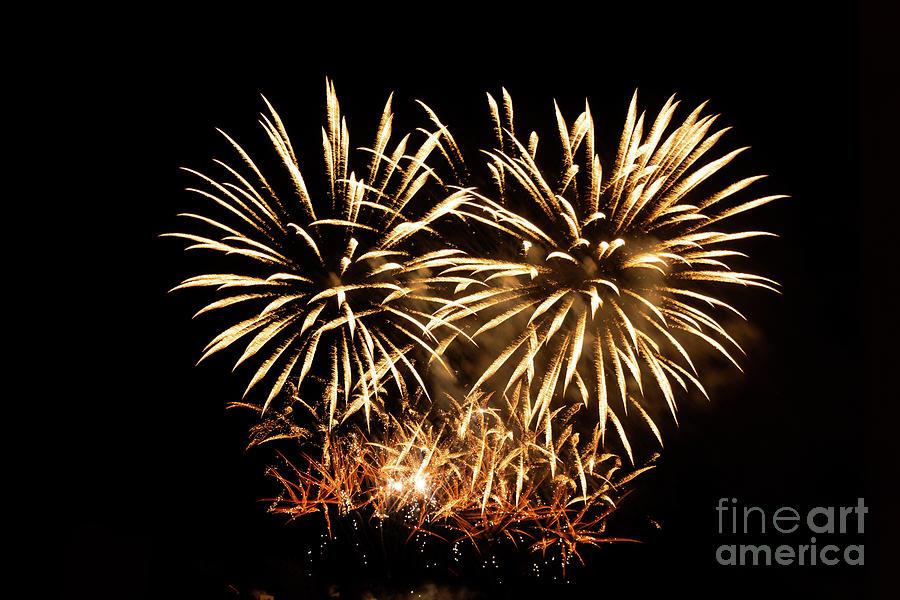 Black Background Photograph - Firework Display by Bernard Jaubert