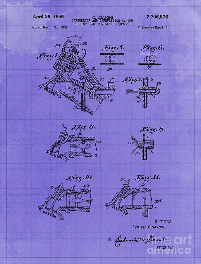 Carburetor And Carburetion System For Internal Combustion Engines Patent Year 1955 Drawing