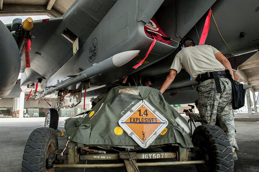 Maintainers Prepare Aircraft At Kadena by Stocktrek Images