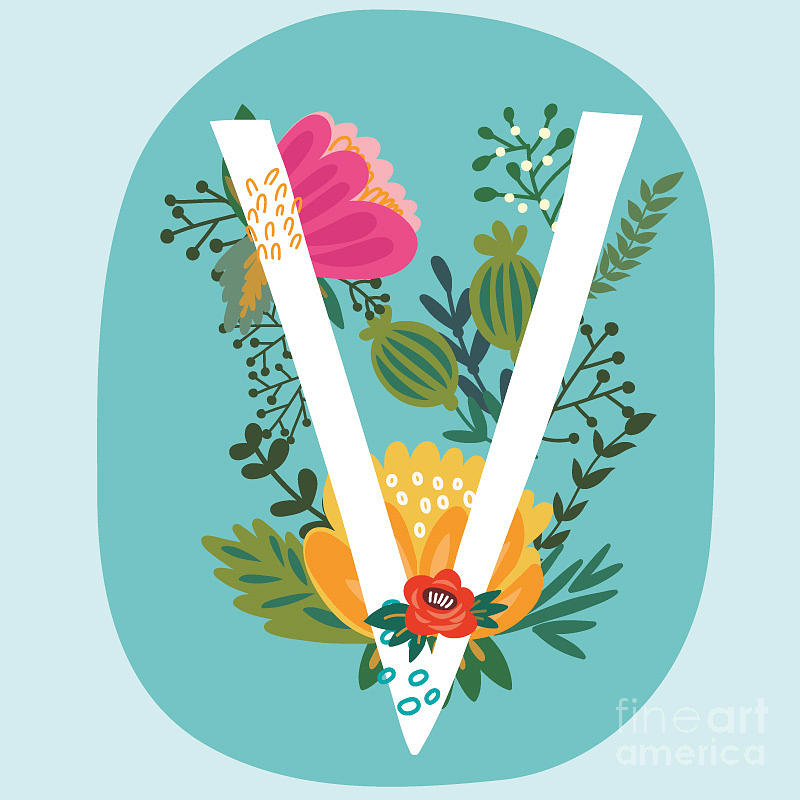 Love Digital Art - Vector Hand Drawn Floral Monogram With by Marushabelle