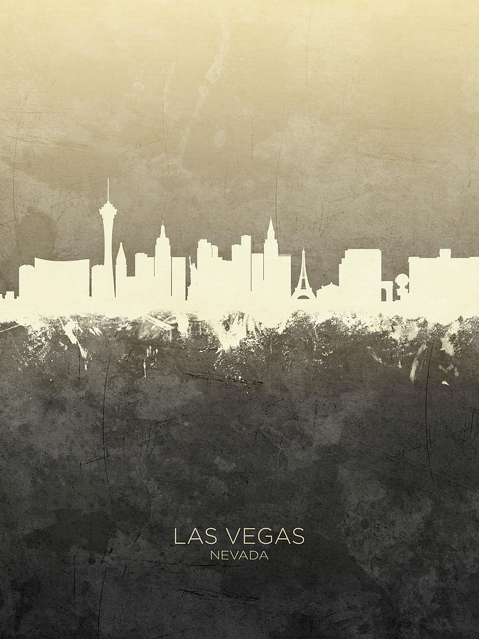 Las Vegas Digital Art - Las Vegas Nevada Skyline 25 by Michael Tompsett