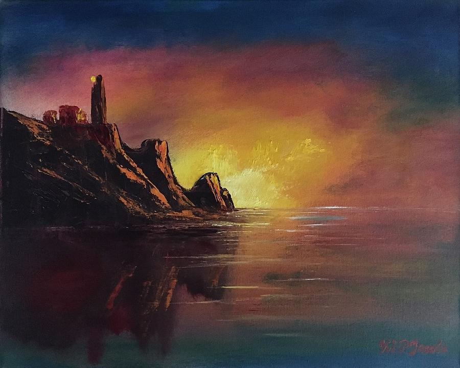 Seascape Painting - #26 Heart Of The Sunrise 16x20 by Mark Jacobs