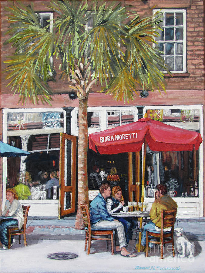 King Street Painting - 2nd Sunday Lunch On King St. by Thomas Michael Meddaugh