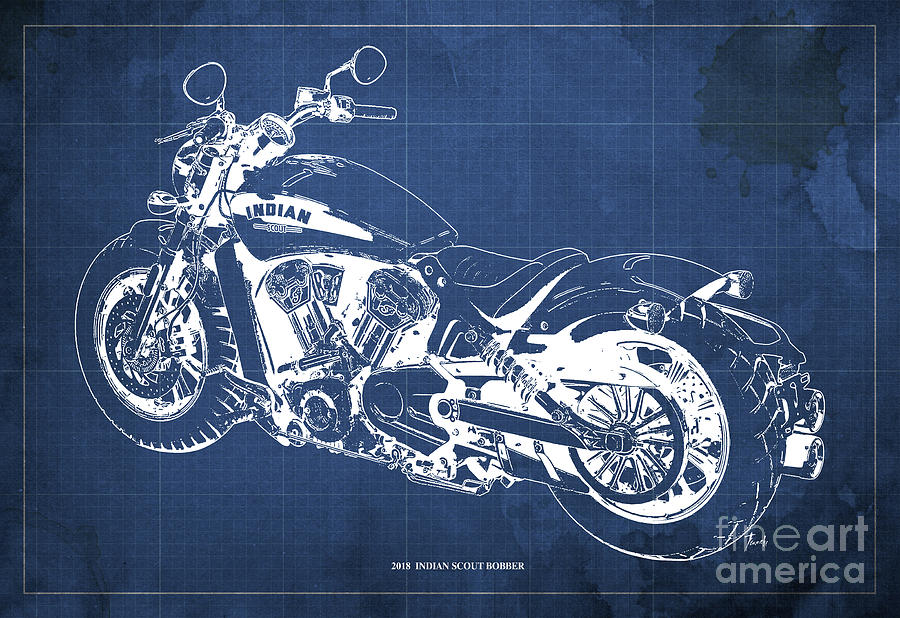 2018 Indian Scout Bobber Blueprint, Vintage Background Drawing