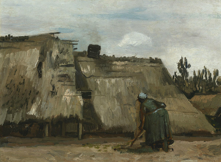 Dutch Painters Painting - A Peasant Woman Digging In Front Of Her Cottage by Vincent van Gogh