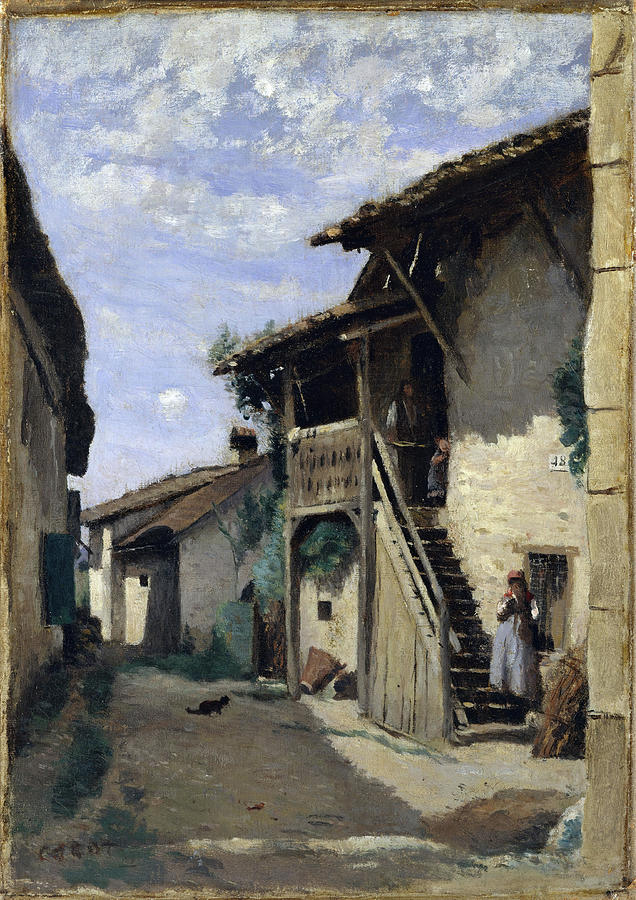 A Village Street Dardagny. by Camille Corot