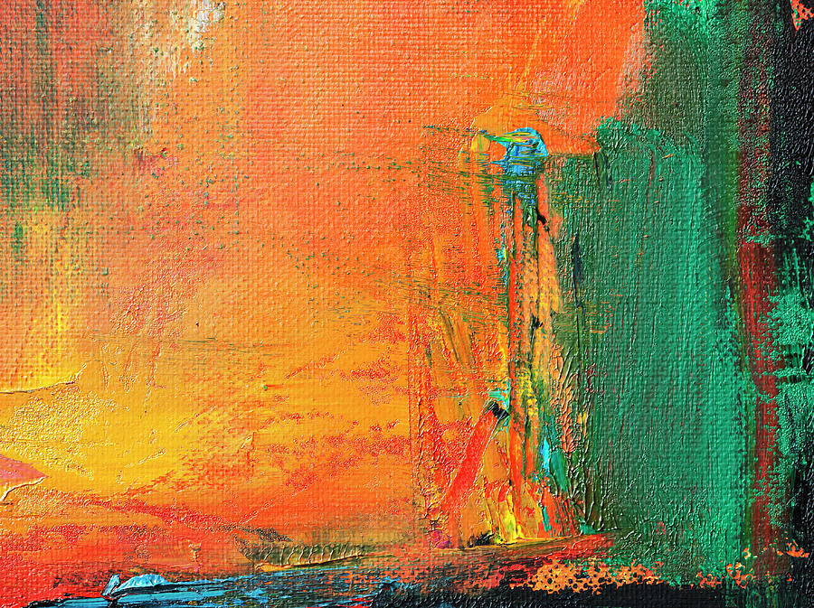 Abstract Painted Red And Green Art