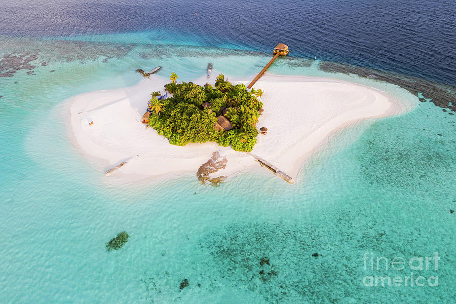 Deserted Photograph - Aerial Drone View Of A Tropical Island, Maldives by Matteo Colombo