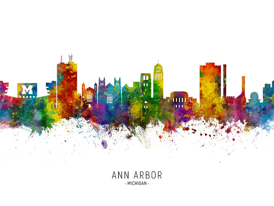Ann Arbor Digital Art - Ann Arbor Michigan Skyline by Michael Tompsett