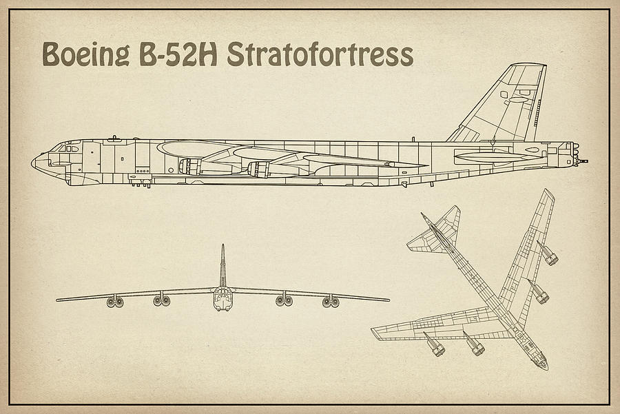 B-52 Drawing - B-52 Stratofortress - Airplane Blueprint. Drawing Plans Or Schematics For Boeing B-52h Stratofortres by JESP Art and Decor