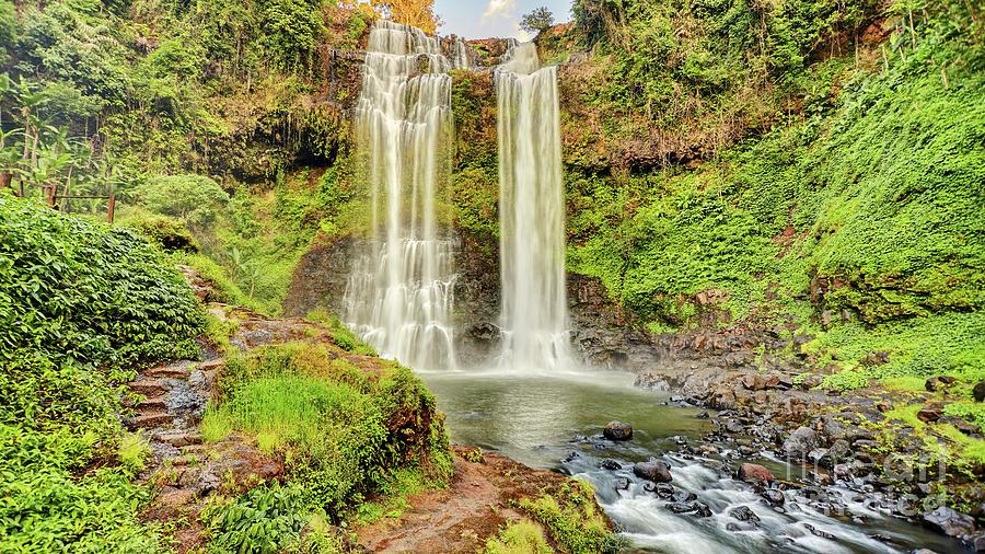 Beautiful Waterfall Hidden In The Tropical Jungles Panorama Photograph