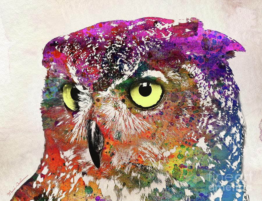 Owl Painting - Owl Head by Mark Ashkenazi