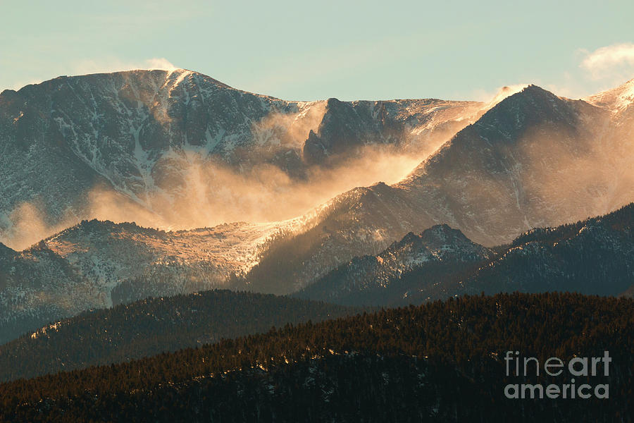 Pike National Forest Photograph - Blowing Snow on Pikes Peak Colorado by Steven Krull